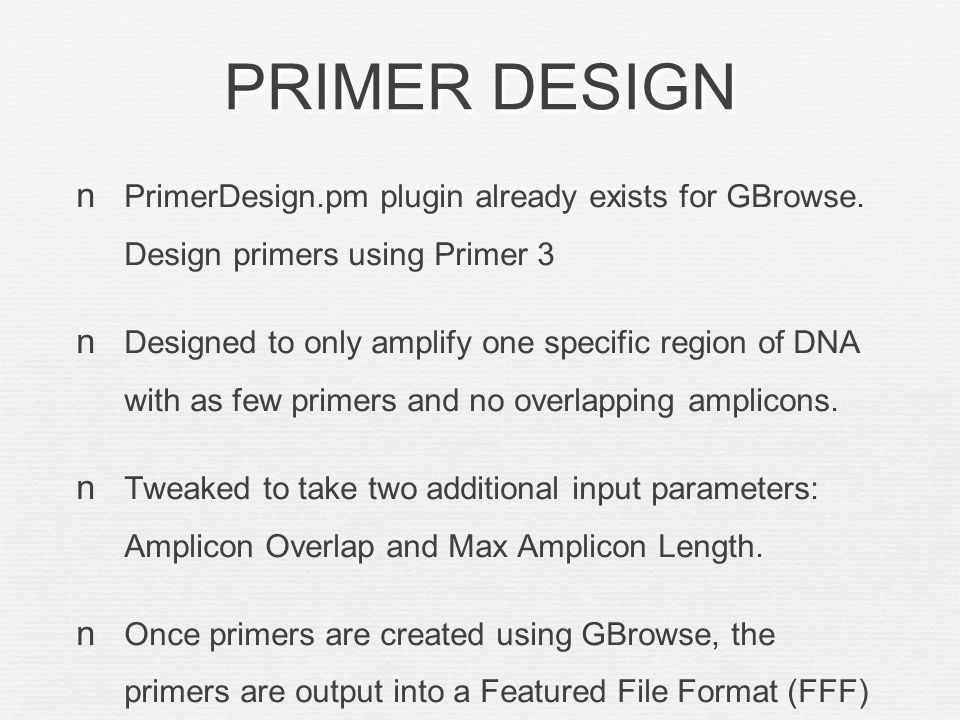 PRIMER DESIGN PrimerDesign.pm plugin already exists for GBrowse.