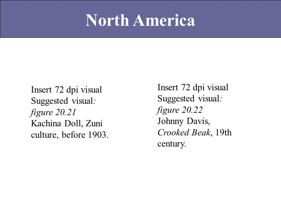 North America Insert 72 dpi visual Suggested visual: figure 20.22 Johnny Davis, Crooked Beak, 19th century. Insert 72 dpi visual Suggested visual: fig