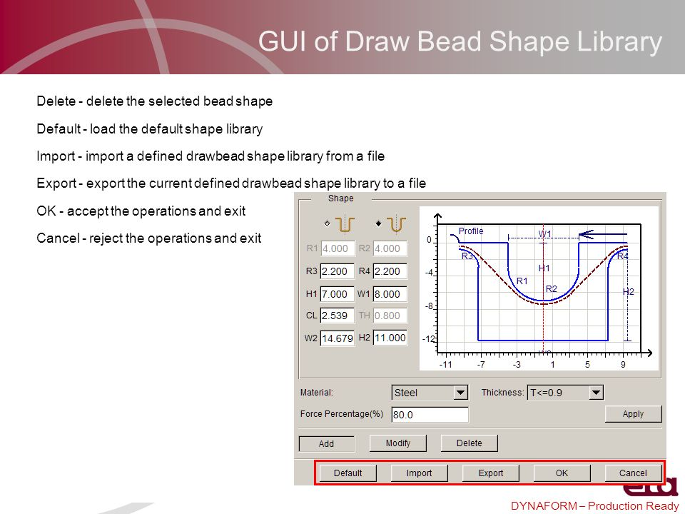 DYNAFORM – Production Ready GUI of Draw Bead Shape Library Delete - delete the selected bead shape Default - load the default shape library Import - i