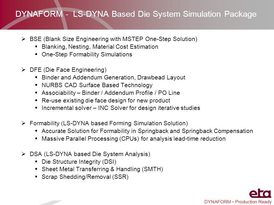 DYNAFORM – Production Ready Blank Generator GUI DF5.8 OutlineDF5.8.1 Outline DF5.8 PartsDF5.8.1 Parts