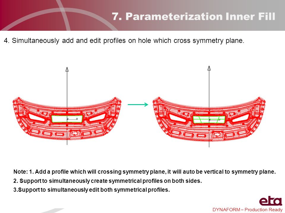 DYNAFORM – Production Ready 7. Parameterization Inner Fill 4. Simultaneously add and edit profiles on hole which cross symmetry plane. Note: 1. Add a