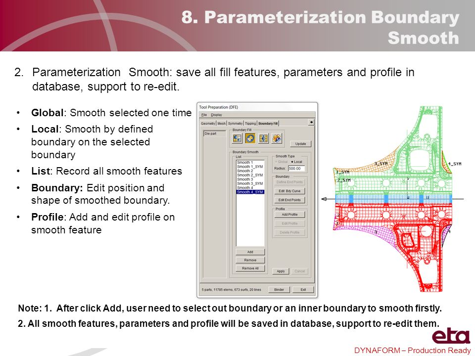 DYNAFORM – Production Ready 8. Parameterization Boundary Smooth Global: Smooth selected one time Local: Smooth by defined boundary on the selected bou