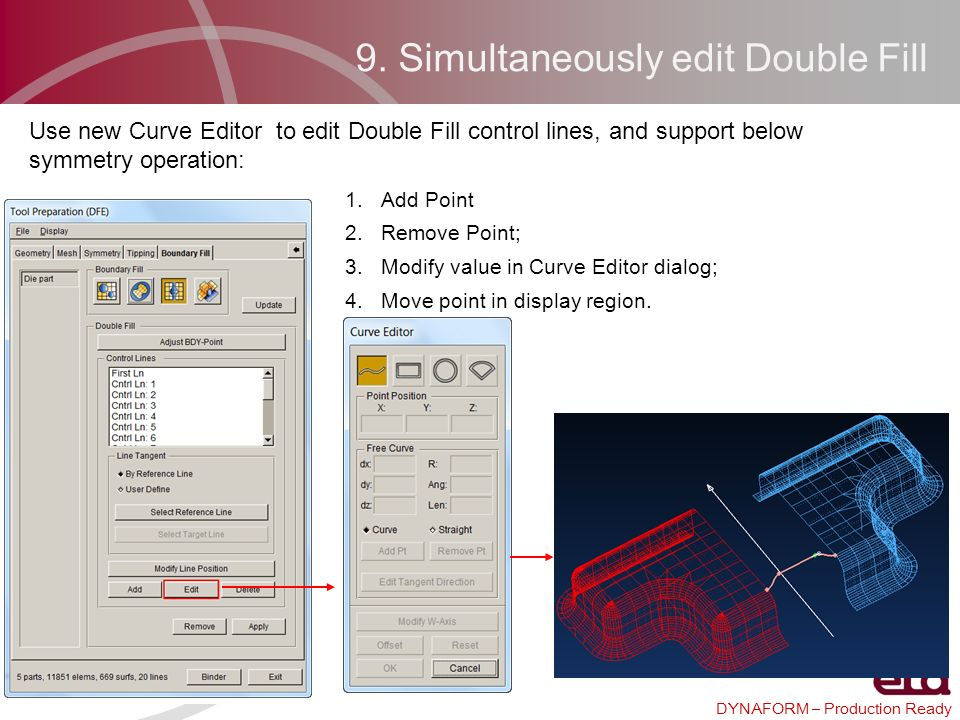 DYNAFORM – Production Ready 1.Add Point 2.Remove Point; 3.Modify value in Curve Editor dialog; 4.Move point in display region. 9. Simultaneously edit