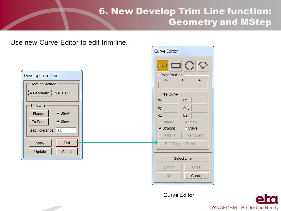 DYNAFORM – Production Ready 6. New Develop Trim Line function: Geometry and MStep Use new Curve Editor to edit trim line. Curve Editor