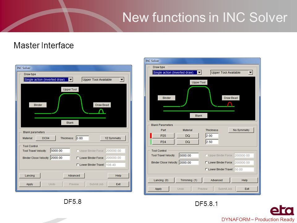 DYNAFORM – Production Ready New functions in INC Solver DF5.8 DF5.8.1 Master Interface