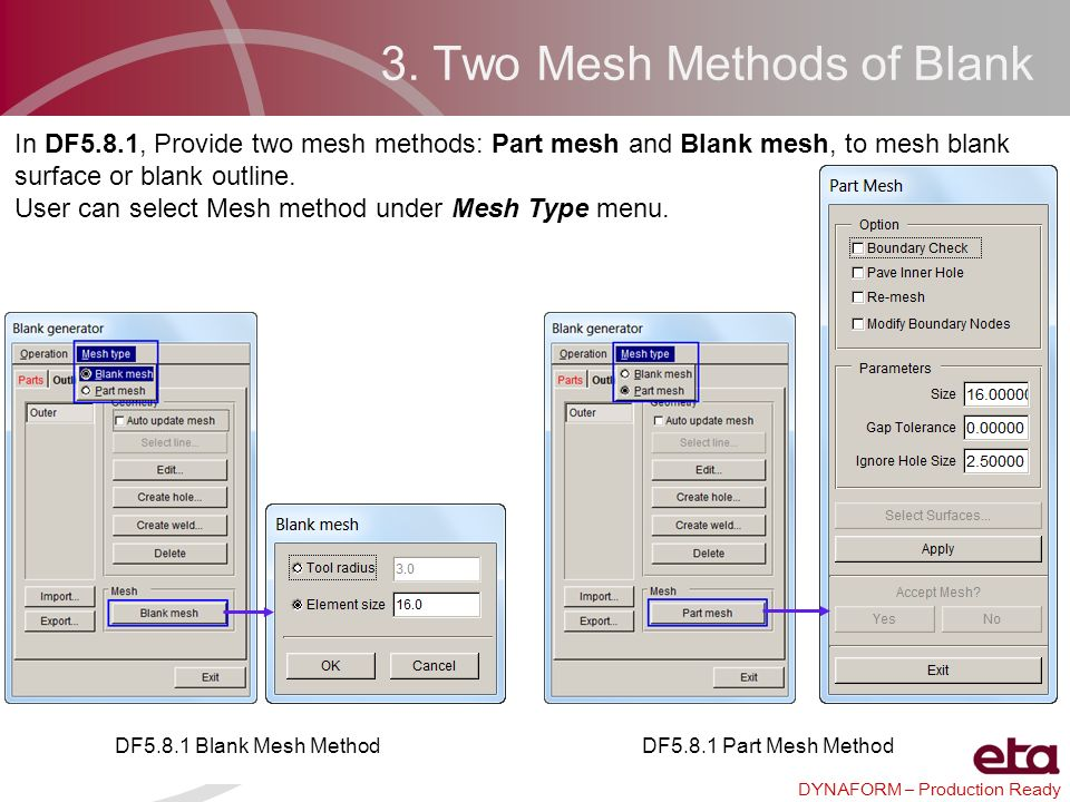 DYNAFORM – Production Ready 3. Two Mesh Methods of Blank In DF5.8.1, Provide two mesh methods: Part mesh and Blank mesh, to mesh blank surface or blan