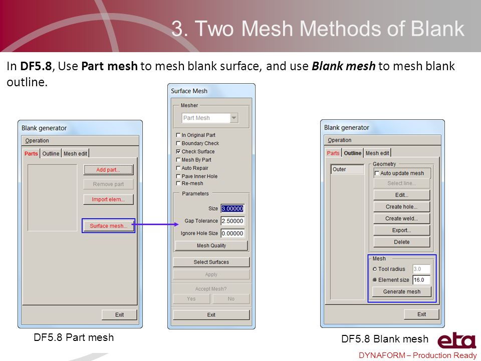 DYNAFORM – Production Ready 3. Two Mesh Methods of Blank In DF5.8, Use Part mesh to mesh blank surface, and use Blank mesh to mesh blank outline. DF5.