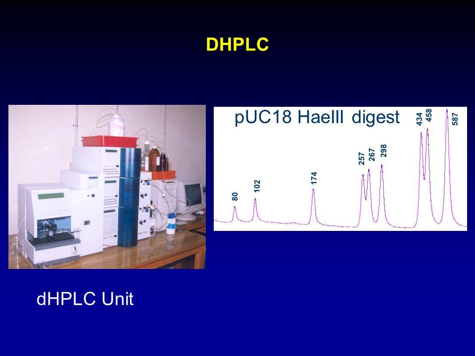DHPLC dHPLC Unit pUC18 HaeIII digest 80 434 102 174 298 267 257 458 587