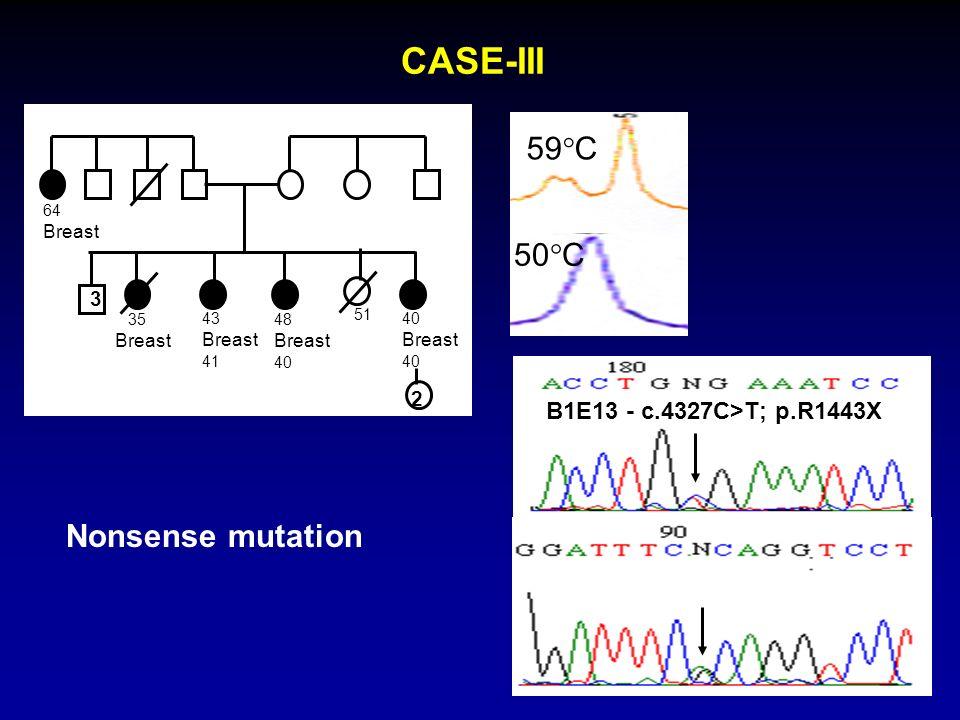 CASE-III 50 C 59 C 64 Breast 2 48 Breast 40 43 Breast 41 35 Breast 51 3 40 Breast 40 B1E13 - c.4327C>T; p.R1443X Nonsense mutation