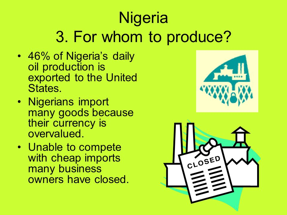 Nigeria 3. For whom to produce? 46% of Nigerias daily oil production is exported to the United States. Nigerians import many goods because their curre