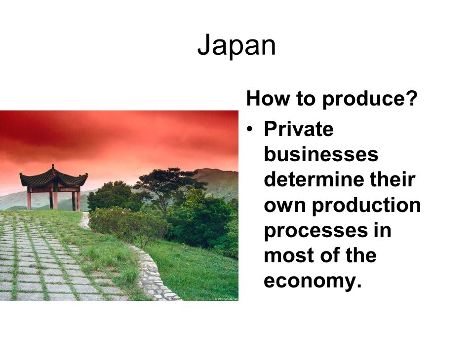 Japan How to produce? Private businesses determine their own production processes in most of the economy.