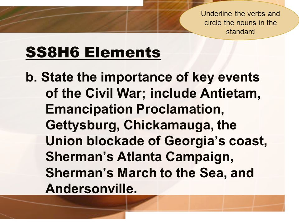 SS8H6 Elements b. State the importance of key events of the Civil War; include Antietam, Emancipation Proclamation, Gettysburg, Chickamauga, the Union