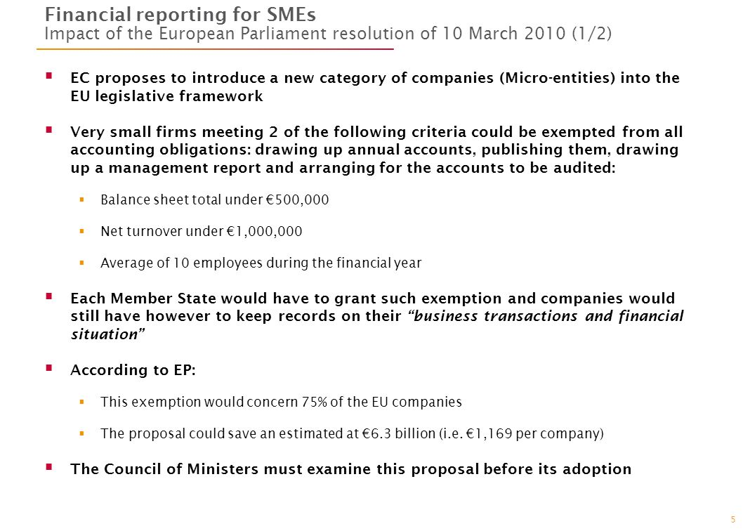 5 Financial reporting for SMEs Impact of the European Parliament resolution of 10 March 2010 (1/2) EC proposes to introduce a new category of companies (Micro-entities) into the EU legislative framework Very small firms meeting 2 of the following criteria could be exempted from all accounting obligations: drawing up annual accounts, publishing them, drawing up a management report and arranging for the accounts to be audited: Balance sheet total under 500,000 Net turnover under 1,000,000 Average of 10 employees during the financial year Each Member State would have to grant such exemption and companies would still have however to keep records on their business transactions and financial situation According to EP: This exemption would concern 75% of the EU companies The proposal could save an estimated at 6.3 billion (i.e.