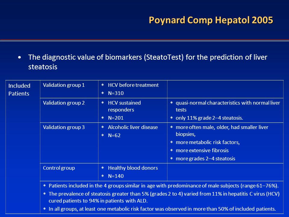 FT in diagnostic of HBV Poynard Comp Hepatol 2005 The diagnostic value of biomarkers (SteatoTest) for the prediction of liver steatosis Included Patie