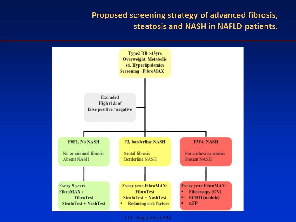 FT in diagnostic of HBV Proposed screening strategy of advanced fibrosis, steatosis and NASH in NAFLD patients.