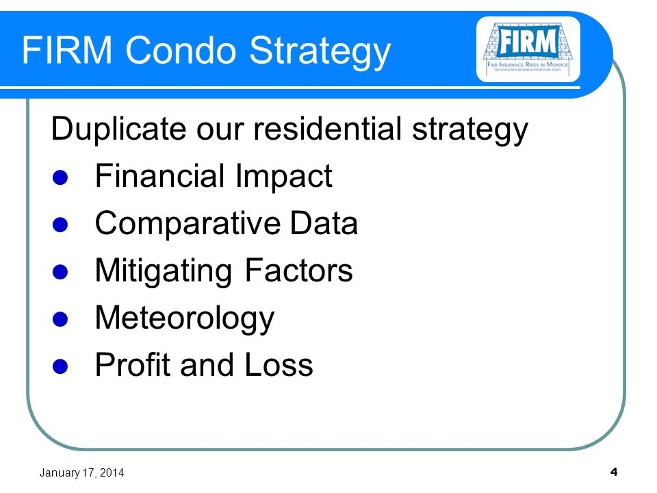 January 17, FIRM Condo Strategy Duplicate our residential strategy Financial Impact Comparative Data Mitigating Factors Meteorology Profit and Loss