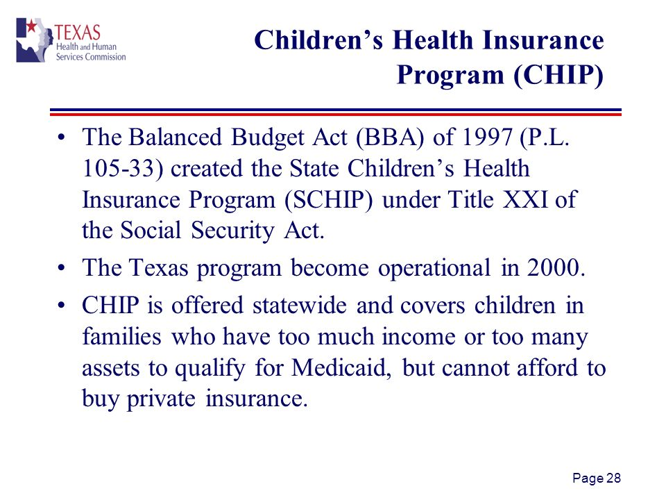 Page 28 Childrens Health Insurance Program (CHIP) The Balanced Budget Act (BBA) of 1997 (P.L.