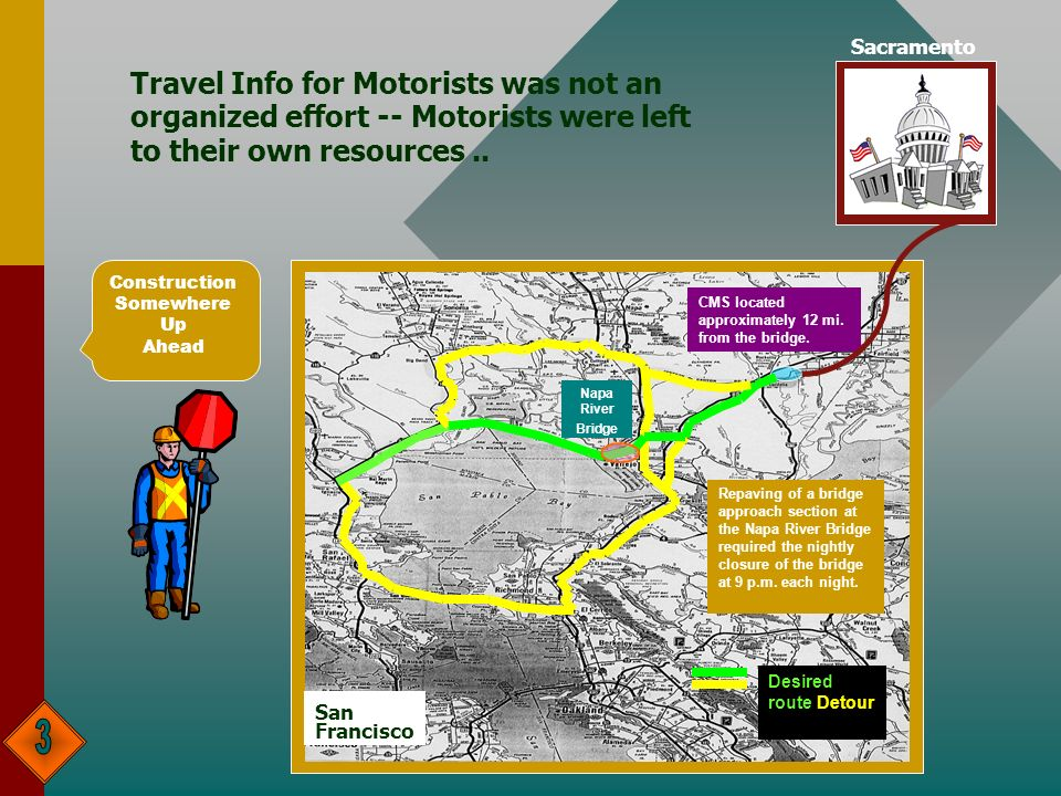 Travel Info for Motorists was not an organized effort -- Motorists were left to their own resources.. Construction Somewhere Up Ahead CMS located appr