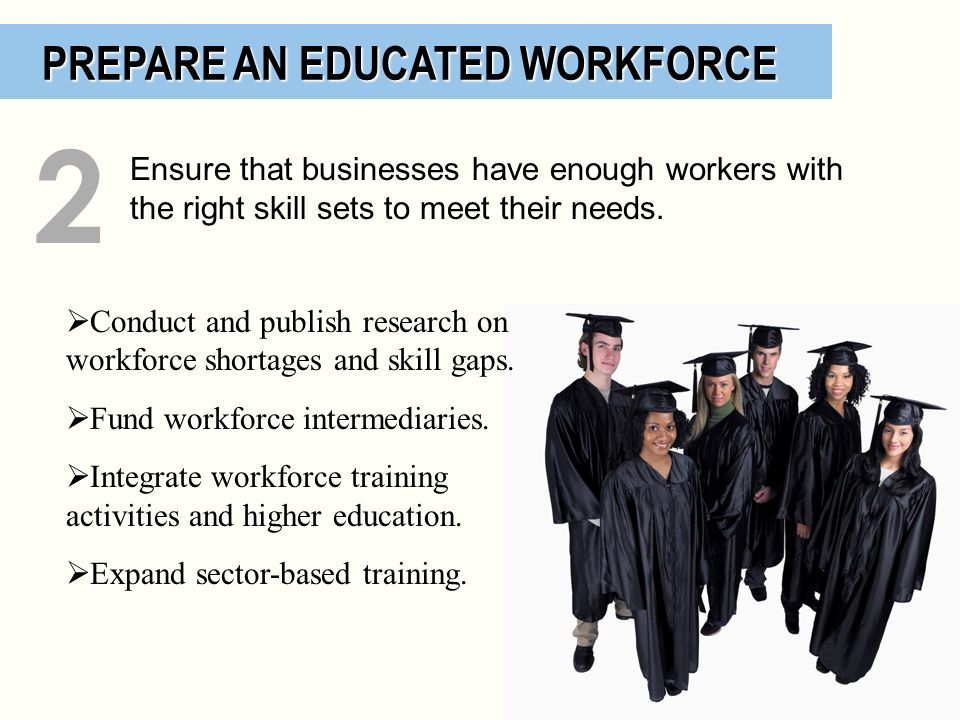 PREPARE AN EDUCATED WORKFORCE PREPARE AN EDUCATED WORKFORCE Conduct and publish research on workforce shortages and skill gaps. Fund workforce interme