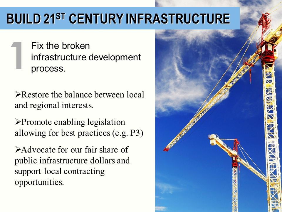 BUILD 21 ST CENTURY INFRASTRUCTURE BUILD 21 ST CENTURY INFRASTRUCTURE Fix the broken infrastructure development process. 1 Restore the balance between