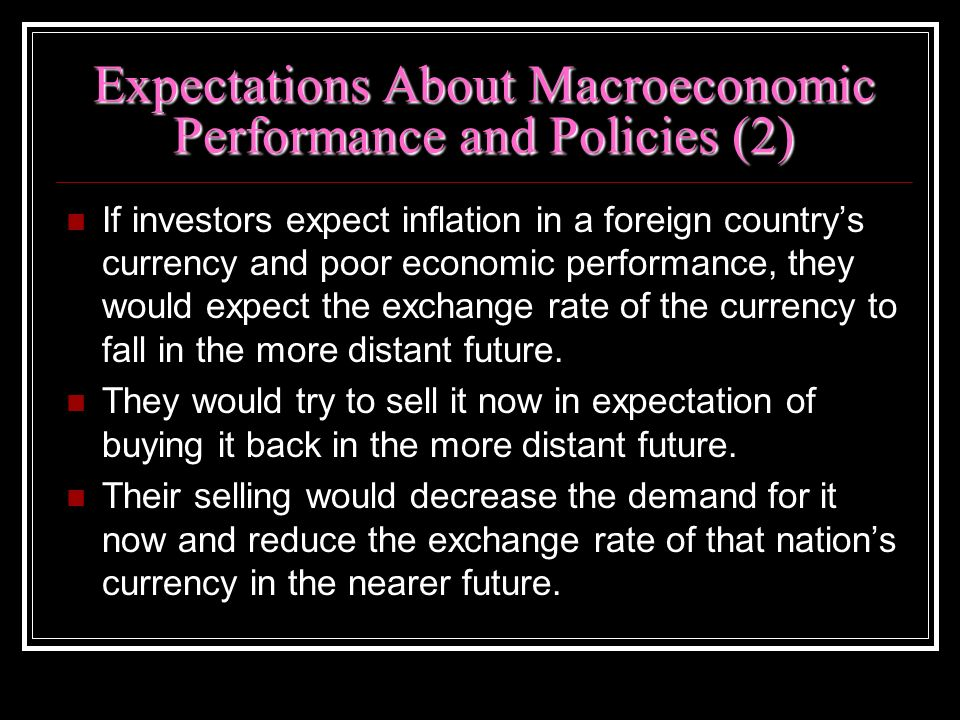 Expectations About Macroeconomic Performance and Policies (2) If investors expect inflation in a foreign countrys currency and poor economic performan