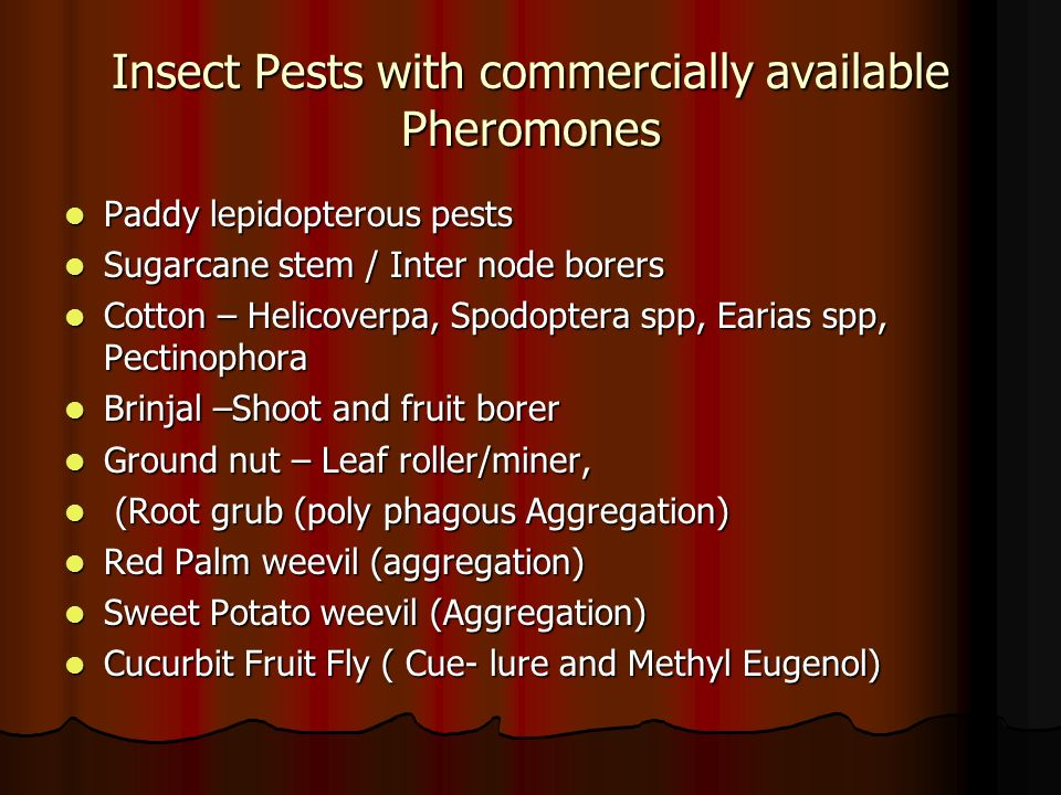 Insect Pests with commercially available Pheromones Paddy lepidopterous pests Paddy lepidopterous pests Sugarcane stem / Inter node borers Sugarcane s