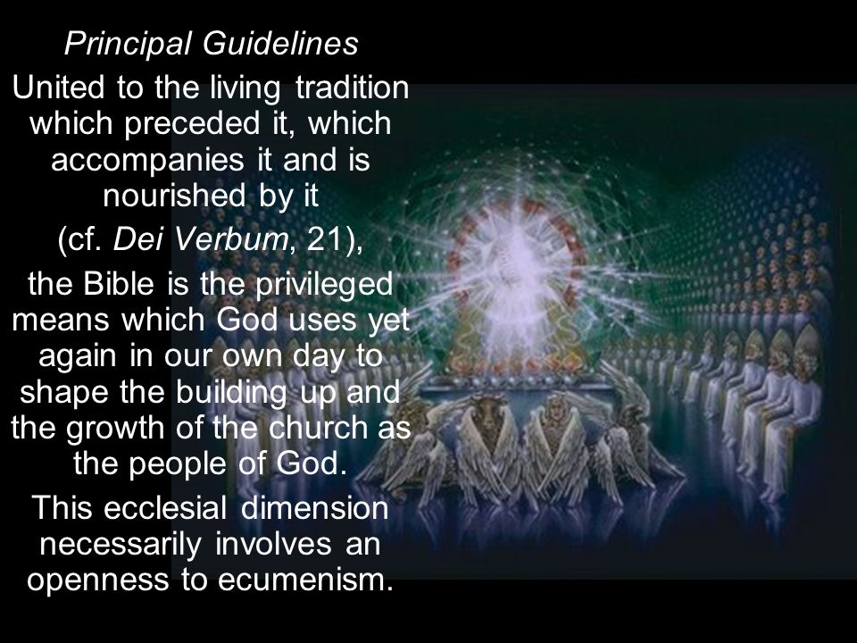 Principal Guidelines United to the living tradition which preceded it, which accompanies it and is nourished by it (cf.