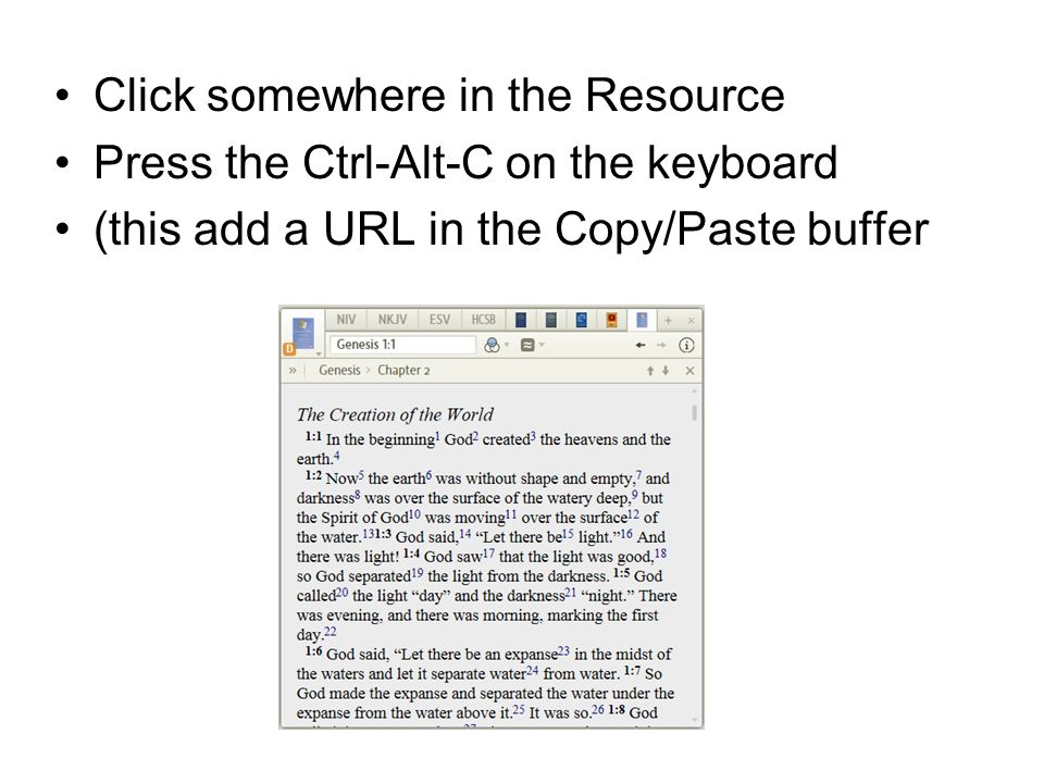 Click somewhere in the Resource Press the Ctrl-Alt-C on the keyboard (this add a URL in the Copy/Paste buffer