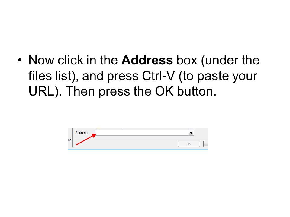 Now click in the Address box (under the files list), and press Ctrl-V (to paste your URL). Then press the OK button.