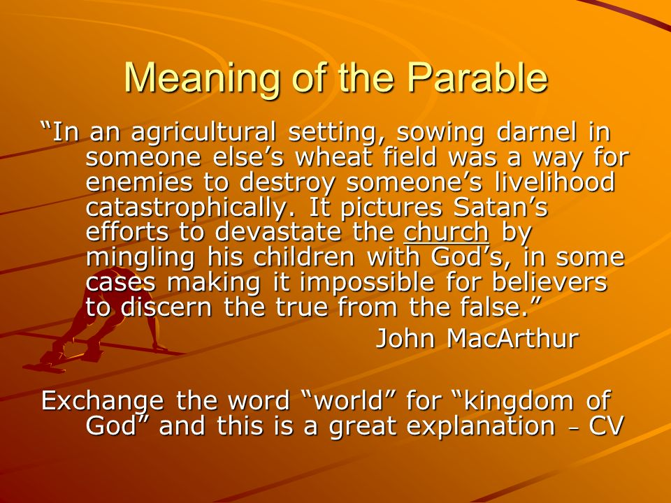 Meaning of the Parable In an agricultural setting, sowing darnel in someone elses wheat field was a way for enemies to destroy someones livelihood cat