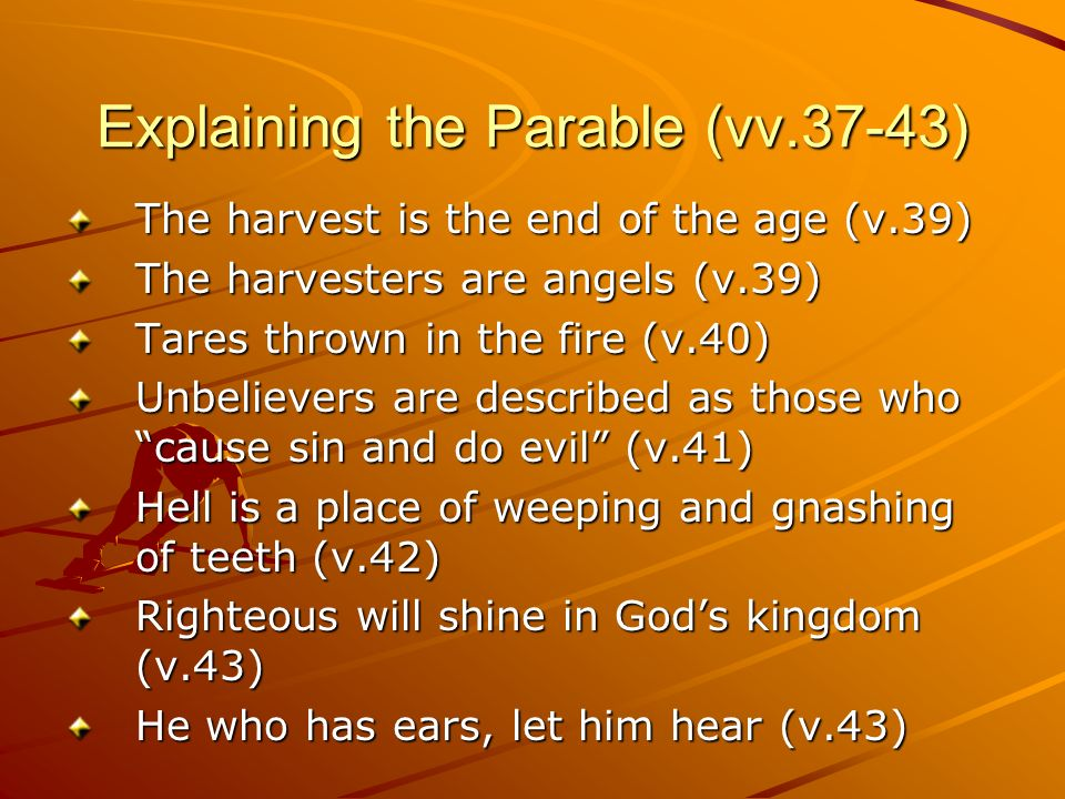 Explaining the Parable (vv.37-43) The harvest is the end of the age (v.39) The harvesters are angels (v.39) Tares thrown in the fire (v.40) Unbeliever