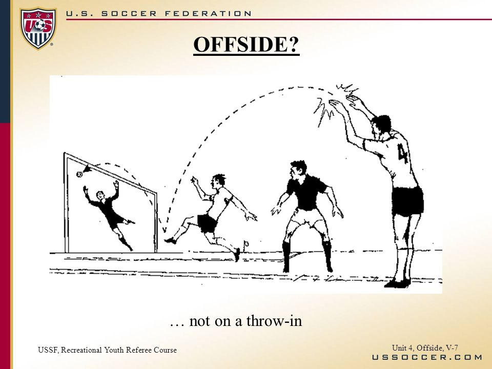 Unit 4, Offside, V-7 … not on a throw-in OFFSIDE? USSF, Recreational Youth Referee Course