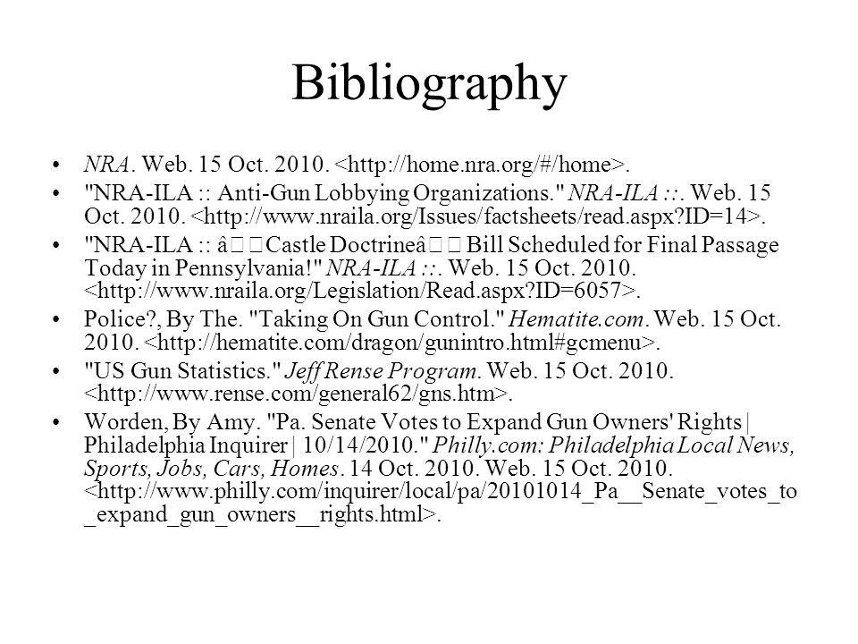 Bibliography NRA. Web. 15 Oct. 2010..