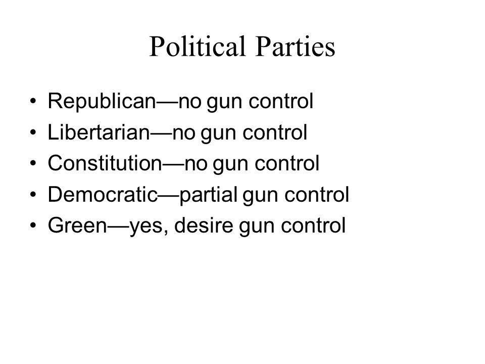 Political Parties Republicanno gun control Libertarianno gun control Constitutionno gun control Democraticpartial gun control Greenyes, desire gun con