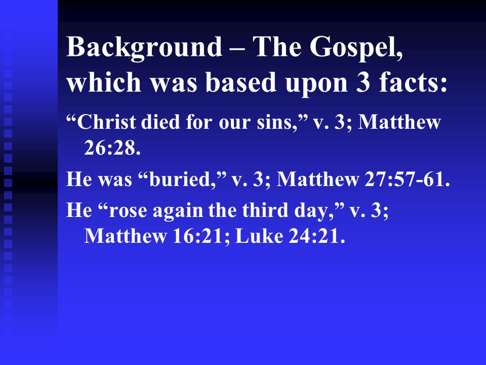 Background – The Gospel, which was based upon 3 facts: Christ died for our sins, v.