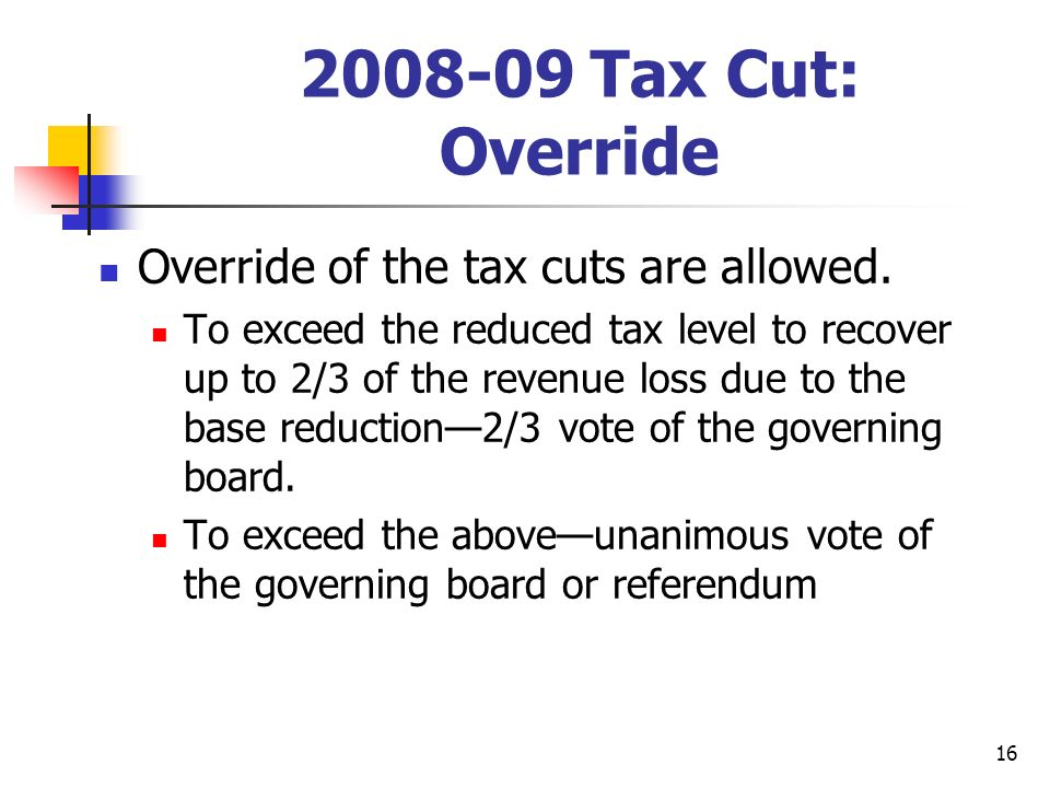 16 2008-09 Tax Cut: Override Override of the tax cuts are allowed.