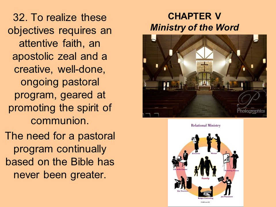 CHAPTER V The Theological-Pastoral Foundation: Word, Spirit, Liturgy and Church Through the Holy Spirit, the liturgical assembly hears Christ himself who speaks when the Holy Scriptures are read in the Church (SC 7) and receives the covenant, which God renews with his People.
