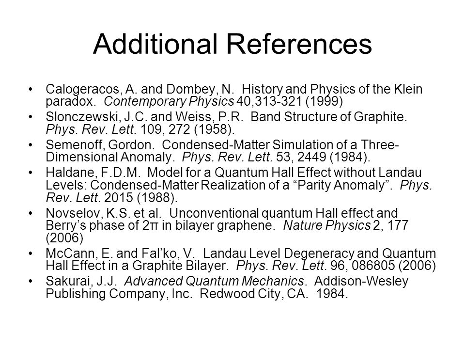 Additional References Calogeracos, A. and Dombey, N. History and Physics of the Klein paradox. Contemporary Physics 40,313-321 (1999) Slonczewski, J.C