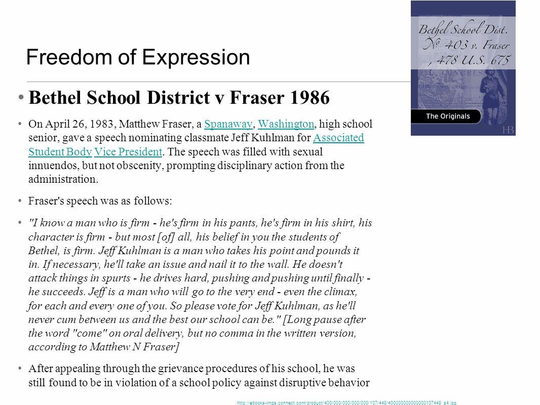 Freedom of Expression Bethel School District v Fraser 1986 On April 26, 1983, Matthew Fraser, a Spanaway, Washington, high school senior, gave a speec