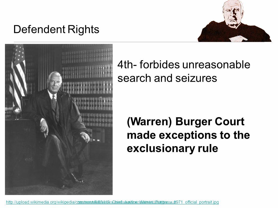 Defendent Rights http://www.freedomsphoenix.com/Uploads/Graphics/004-0422210603-judge.gif 4th- forbides unreasonable search and seizures (Warren) Burg