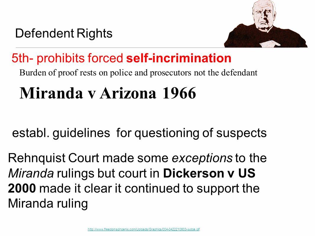Burden of proof rests on police and prosecutors not the defendant Miranda v Arizona 1966 Defendent Rights http://www.freedomsphoenix.com/Uploads/Graph