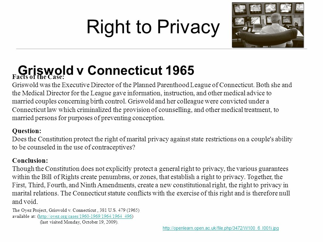 Facts of the Case: Griswold was the Executive Director of the Planned Parenthood League of Connecticut. Both she and the Medical Director for the Leag