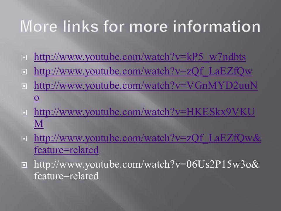 http://www.youtube.com/watch?v=kP5_w7ndbts http://www.youtube.com/watch?v=zQf_LaEZfQw http://www.youtube.com/watch?v=VGnMYD2uuN o http://www.youtube.com/watch?v=VGnMYD2uuN o http://www.youtube.com/watch?v=HKESkx9VKU M http://www.youtube.com/watch?v=HKESkx9VKU M http://www.youtube.com/watch?v=zQf_LaEZfQw& feature=related http://www.youtube.com/watch?v=zQf_LaEZfQw& feature=related http://www.youtube.com/watch?v=06Us2P15w3o& feature=related
