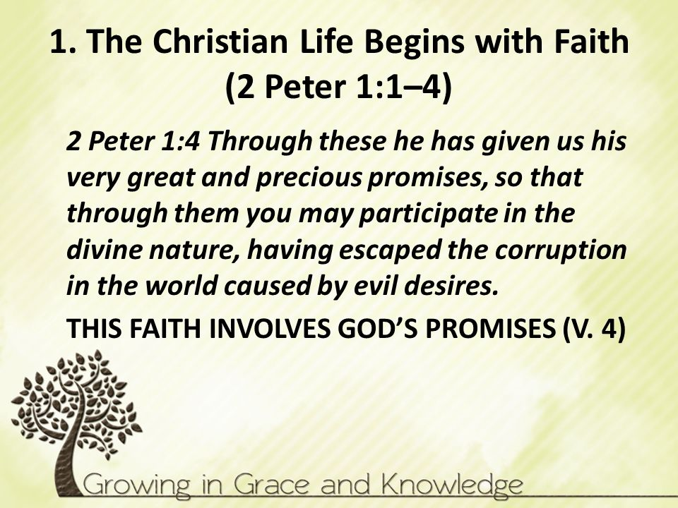 1. The Christian Life Begins with Faith (2 Peter 1:1–4) 2 Peter 1:4 Through these he has given us his very great and precious promises, so that throug
