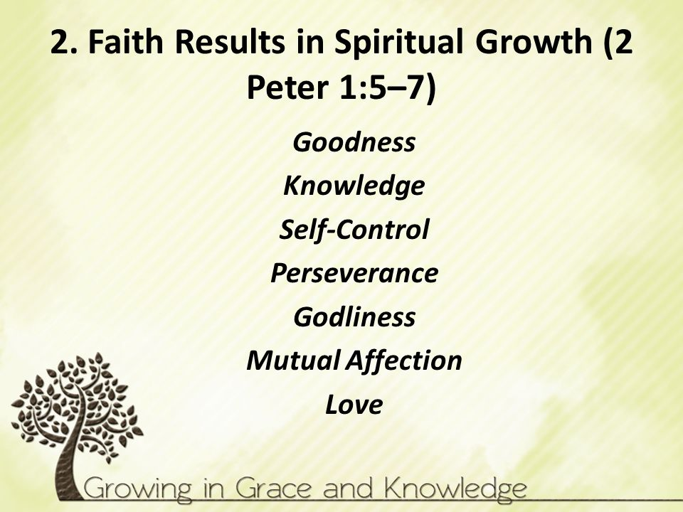 2. Faith Results in Spiritual Growth (2 Peter 1:5–7) Goodness Knowledge Self-Control Perseverance Godliness Mutual Affection Love