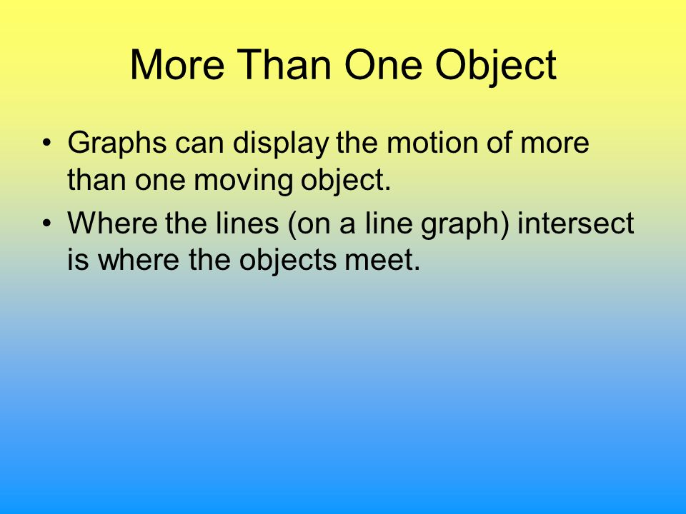 More Than One Object Graphs can display the motion of more than one moving object. Where the lines (on a line graph) intersect is where the objects me
