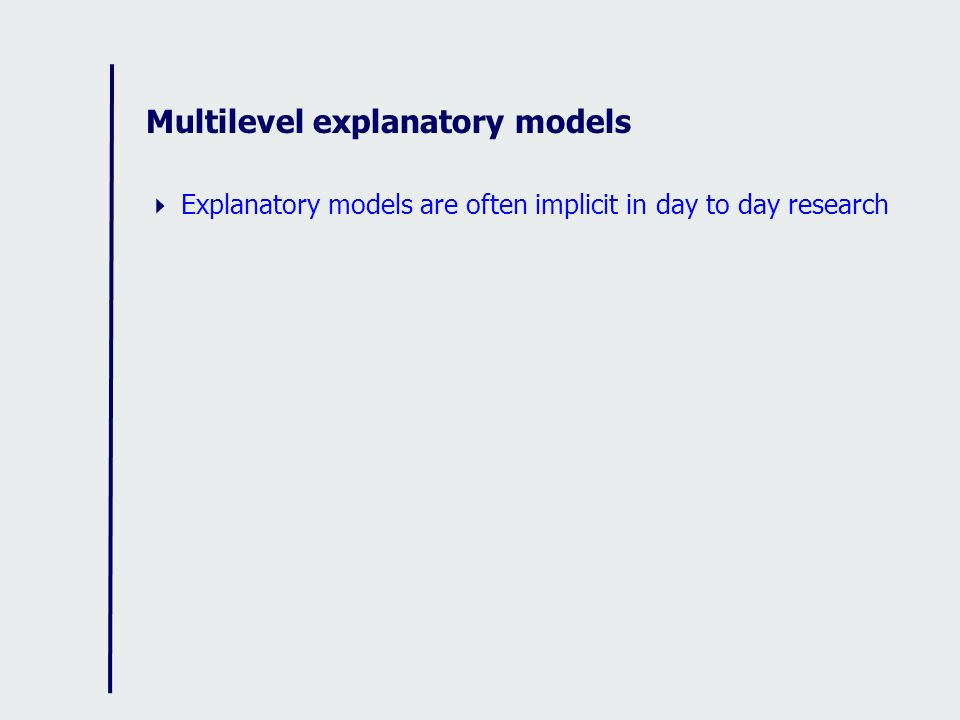 Multilevel explanatory models Explanatory models are often implicit in day to day research