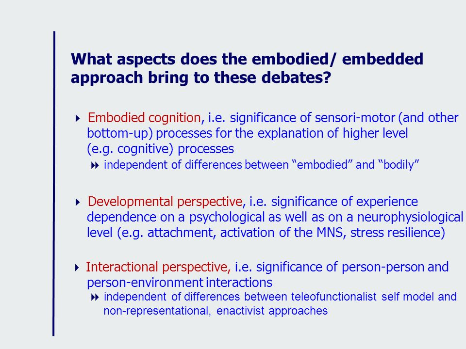 What aspects does the embodied/ embedded approach bring to these debates? Embodied cognition, i.e. significance of sensori-motor (and other bottom-up)