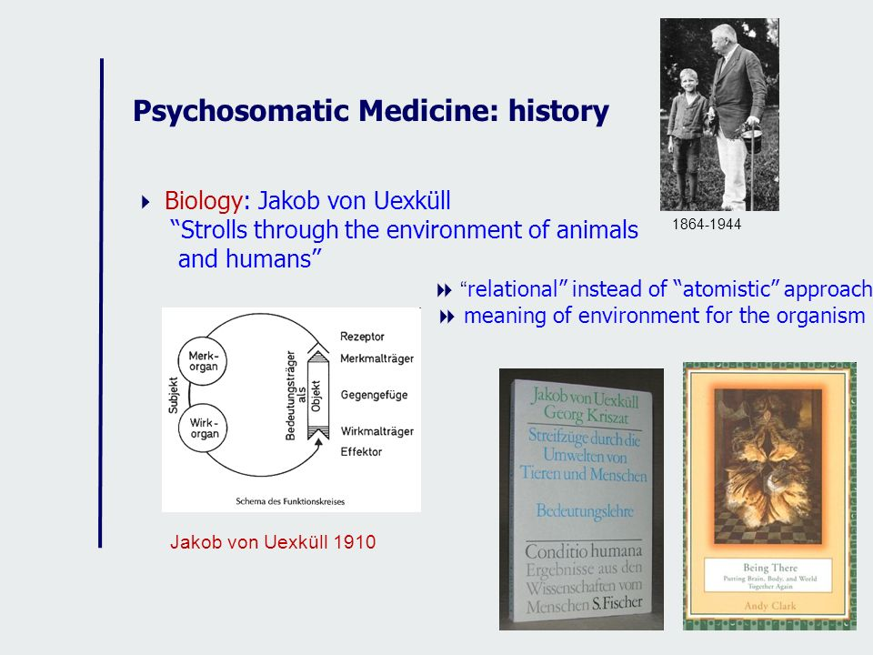 Psychosomatic Medicine: history Biology: Jakob von Uexküll Strolls through the environment of animals and humans relational instead of atomistic appro