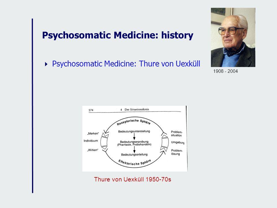 Psychosomatic Medicine: history Psychosomatic Medicine: Thure von Uexküll Thure von Uexküll 1950-70s 1908 - 2004